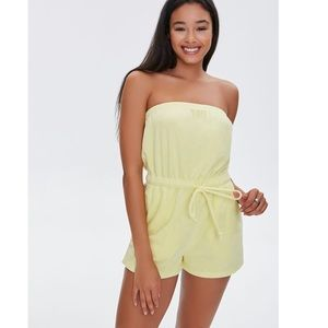 Light Yellow Terry Cloth Strapless Romper